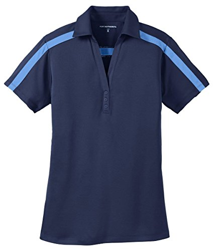 Port Authority Ladies Silk Touch Stripe Polo>L Navy/Carolina Blue L547
