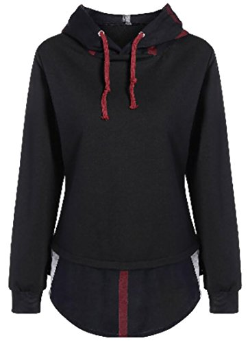 fan products of lovever Women Basic Long Sleeve Pure Color Plus Size Drawstring Hooded Sweatshirt Photo Color XL