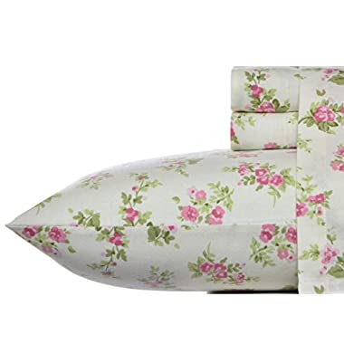 Laura Ashley Flannel Sheet Set, Audrey Pink, Queen