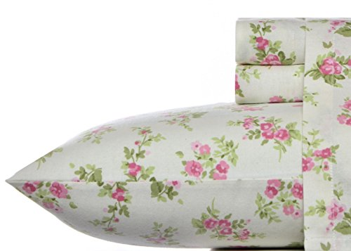 (Laura Ashley Flannel Sheet Set, Audrey Pink, Queen)