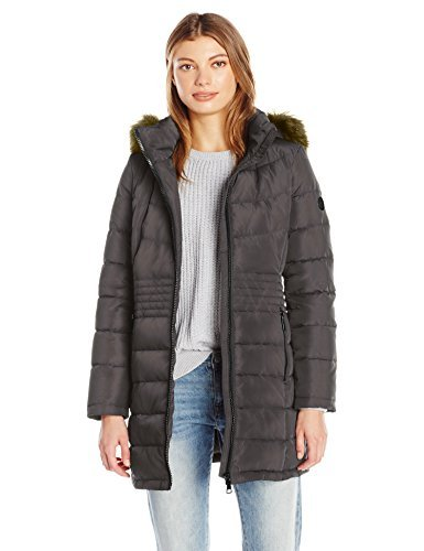 Calvin Klein Women's Down Puffer Long Coat with Faux Fur Trimmed Hood, Taupe Irridescent, XS ()