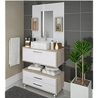 Conjunto de Banheiro Completo CLASS: Balcão, painel e cuba