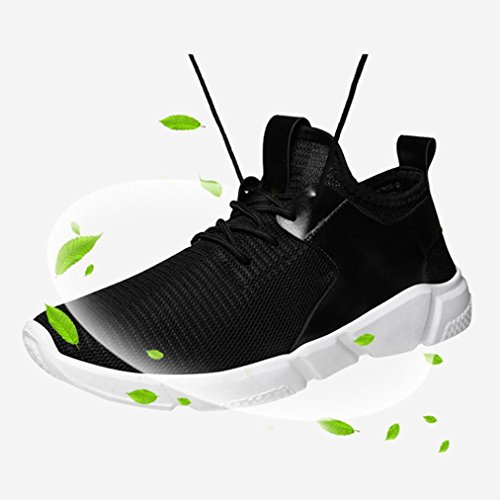 Sky Zapatillas de Deporte de Color Sólido de Los Hombres Zapatos Para Correr Straps Sports Running Casual Sneakers Solid Shoes (41, Negro)