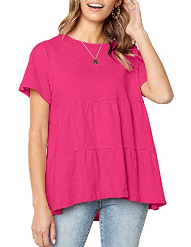 Women's Short Sleeve Flounce Blouse Loose Solid Ruffle High Low Hem Tunic Top Casual Round Neck T Shirt (Rose Red, XL)