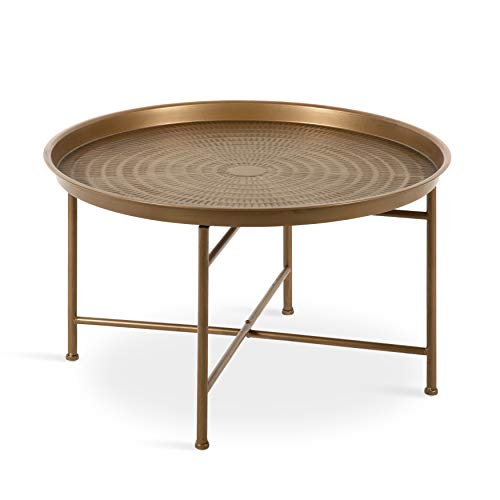 Kate and Laurel Mahdavi Boho-Chic Hammered Metal Tray Coffee Table, Dark Gold