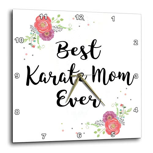 3dRose InspirationzStore - Love Series - Floral Best Karate Mom Ever with Arty Pretty Watercolor Pink Flowers - 13x13 Wall Clock (DPP_311987_2)