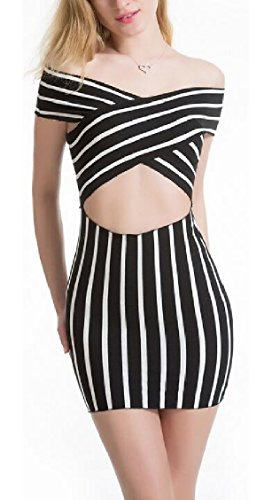 Off Shoulder Womens Out Dress Black Cut Bodycon Jaycargogo Stripe Summer Sexy Mini xqwt1a