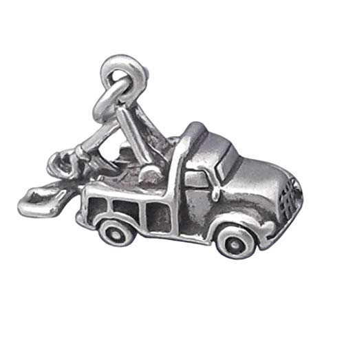 Sterling Silver 3-D Tow Truck Charm Auto Towing Pendant Jewelry Making Supply Pendant Bracelet DIY Crafting by Wholesale Charms by Wholesale Charms