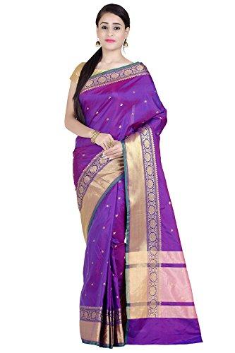 (Chandrakala Women's Purple Art Silk Banarasi Saree(1286PUR))