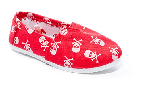 Pink Label Slip-On Canvas Sneaker with Skull Print for Toddlers/Little Kids in Red Size: 6