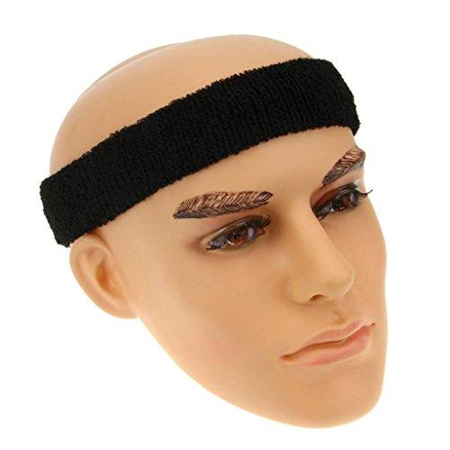 BXT Universal Sports Elastic Cotton Sweat Headband Black