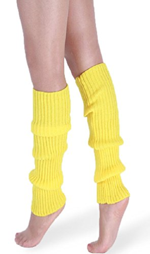 *daisysboutique* Retro Unisex Adult Junior Ribbed Knitted Leg Warmers One Size Yellow