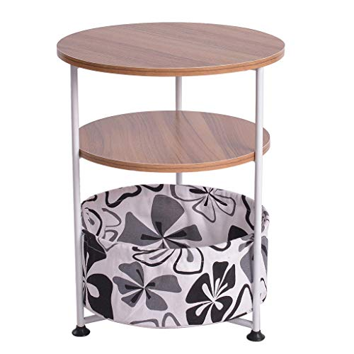 Fine Three-Tier Round Side Table End Table Industrial Coffee Table Nightstand with Storage Basket, Wood Look Accent for Bedroom Bedside Table Hallway, Entryway (Coffee)