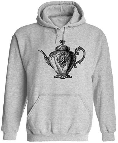 Silver Teapot Unisex Adult Hooded Pullover Sweatshirt, Ash, L (Teapot Hood)