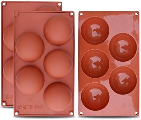 homEdge Molde de silicona extra grande de 5 cavidades y semiesfera, 3 paquetes de moldes para hornear para hacer chocolate, pasteles, gelatinas y mousse de ...