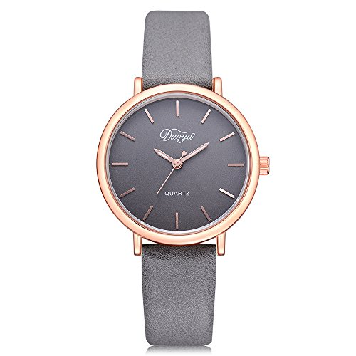 Womens Watches on Sale Clearance COOKI Women's Ladies Teen Girls Couple Fashion Dress Wrist Quartz Watch with Leather Band Casual Simple Analog Quartz Watches Classic Wristwatch X69 (Gray)