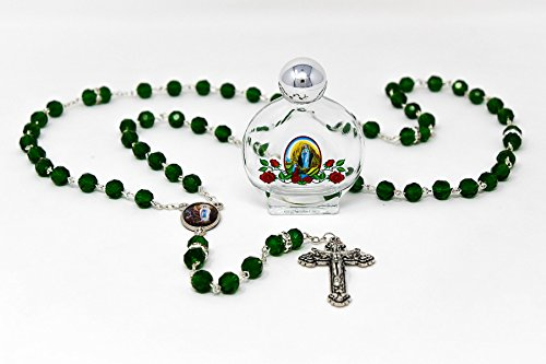 DIRECT FROM LOURDES Lourdes Water Apparition Rosary Beads with Bottle of Lourdes Holy Water & Lourdes Prayer Card