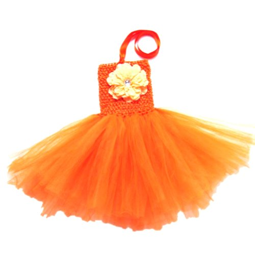 Buenos Ninos Baby Girls TUTU Crochet Tube Top Pettiskirt (Orange) (Crocheted Girls Dress)