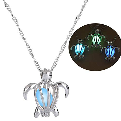 (Glow in The Dark Necklace Steampunk Hollow Pendant with Chain for Women Turtle Blue-Green)