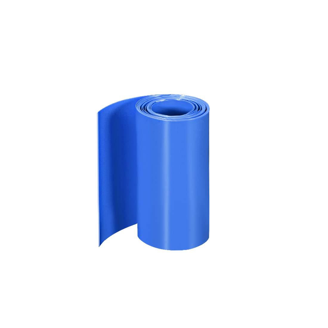 sourcing map PVC W/ärmeschrumpfrohr Schrumpfschlauch 110mm Flache Wicklung f/ür Doppelschicht 18650 2 Meter Blau