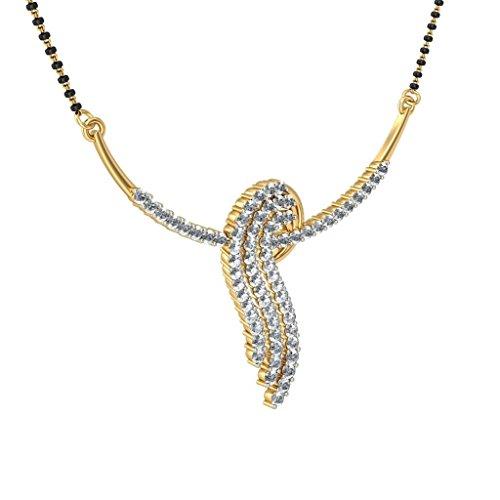 14K Or jaune 1,18CT TW White-diamond (IJ   SI) Mangalsutra
