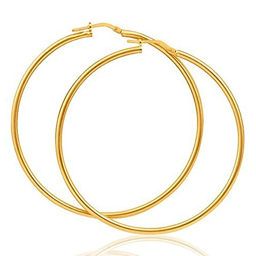 14K Yellow Gold 1.5 inch Hoop Earrings with Click Top Backing by Temecula Gold and Jewelry