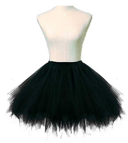 Dresstore Women's Short Vintage Petticoat Skirt Ballet Bubble Tutu Multi-colored Black S/M