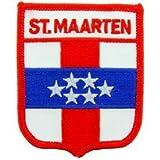 Novelty Embroidery Iron on Patch - International Flag Sheild - St. Maarten Applique