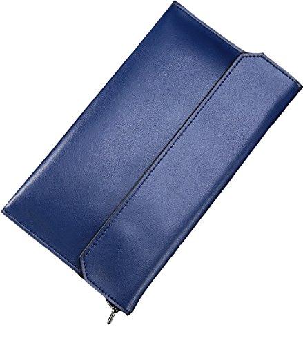Covelin Women's Wristlet Clutch Handbag Genuine Leather Envelope Evening Shoulder Bags Royal (Blue Leather Clutch)