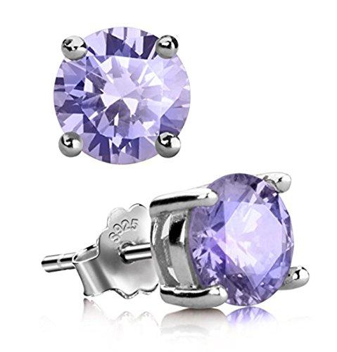 Sterling Silver June Birthstone Earrings | 8mm Alexandrite Earring Stud Ear Studs Anniversary Birthday Mother