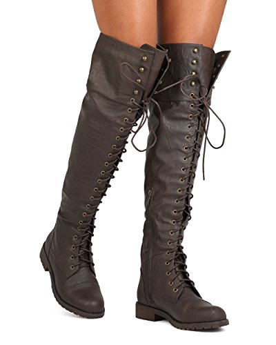 Women Leatherette Over The Knee Lace up Combat Boot FG08 - Brown (Size: 8.0) by Nature Breeze