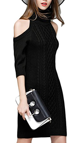 Alion Women Sexy Cold Shoulder Midi Sleeve Turtleneck Knitted Sweater Dress Black S
