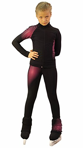 IceDress Figure Skating Outfit -Disco (Black and Raspberry) (AM) by IceDress