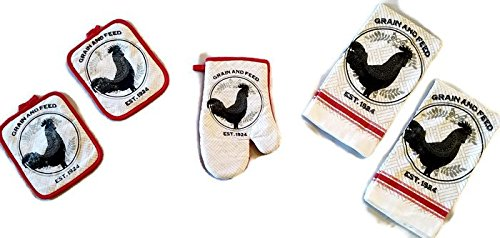 1 2 #4425 Pot Holders Rooster Linen 5 Piece Bundle Package Oven Mitt American Mills Kitchen Towels 2
