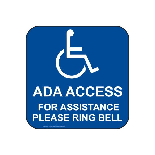 Bell Illinois (ComplianceSigns Vinyl Accessibility Label, 6 x 6 in. with English, Blue)