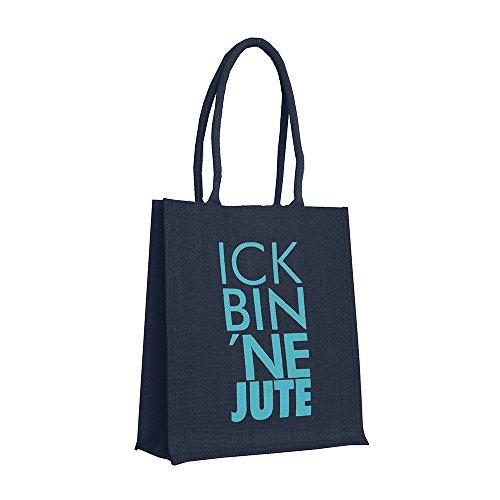 Jutetasche ICK BIN NE JUTE · dunkelblau ·Shopper mit Tragegriff, gefüttert · Tasche ·Berlin (türkis-orange) petrol
