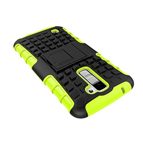 LG K10 Funda,COOLKE Duro resistente Choque Heavy Duty Case Hybrid Outdoor Cover case Bumper protección Funda Para LG K10 - negro verde