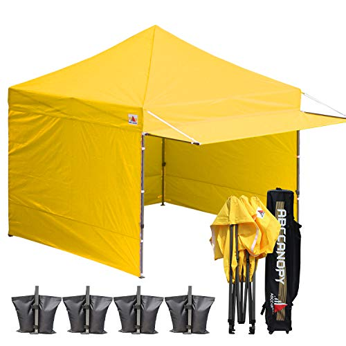 ABCCANOPY 10x10 Easy Pop up Canopy Tent Instant Shelter Commercial Portable Market Canopy with Matching Sidewalls, Weight Bags, Roller Bag,BOUNS Canopy Awning (Yellow)