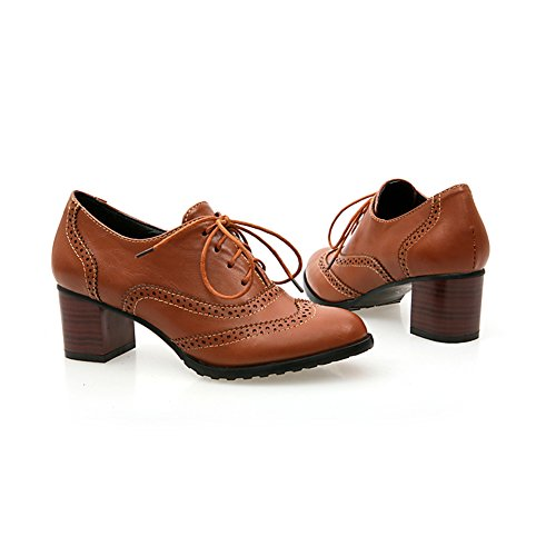 Heel Leahther Lace Oxfords Shoes Brogue Mid Brown PU Women's up Chunky Wingtip fgqW4BwZn
