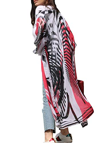 Chunoy Women Black Red Floral Printed Summer Beach Dress Long Kimono Cover Up