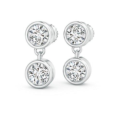 Two Stone Lab Grown Diamond Dangle Earrings in 14K White (14k Wg Diamond Dangle)
