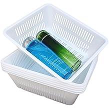 Honla Perforated Plastic Storage Baskets/Bins Organizer,Set of 6,White