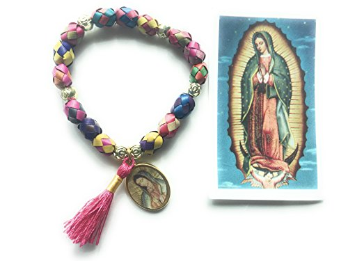Our Lady of Guadalupe colored palm Bracelet with prayer Pulsera de palma con dije de Virgen de Guadalupe