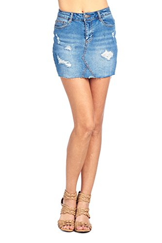 Khanomak Classic Denim Jean Casual Basic Distress Raw Cut Frayed Hem Faded Wash Mini Skirt (Small, Medium (Classic Denim Mini)