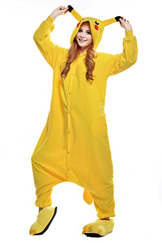 NEWCOSPLAY Adult Anime Unisex Pyjamas Halloween Onesie Costume (Large, Pikachu)]()