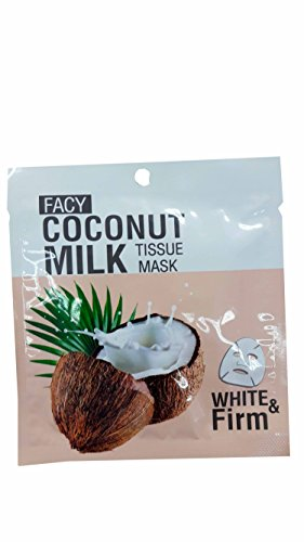 4 packs of Facy Coconut Milk Tissue Mask White & Firm, help nourishing, anti-aging, brighting, and increasing skin flexibility. (21 g/ pack)