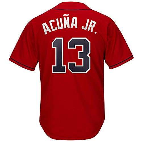 PSonLdx Women's Braves_#13_Ronald_Acuna_Jr_Jersey Youth Baseball Jersey Scarlet L
