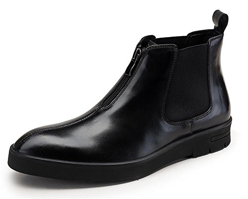 Herren-Leder-Top-Boot-Geschäftskleidung , black , 42
