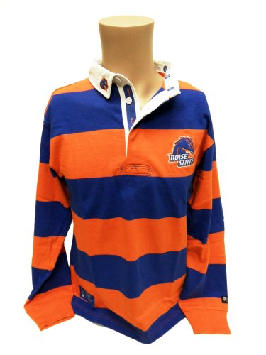 Collegiate Shirt Stripe Rugby - NCAA Boise State Broncos Striped Rugby Shirt, Small, Blue/Orange/White