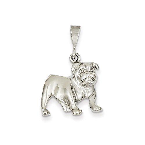 (14k White Gold Bulldog Pendant)